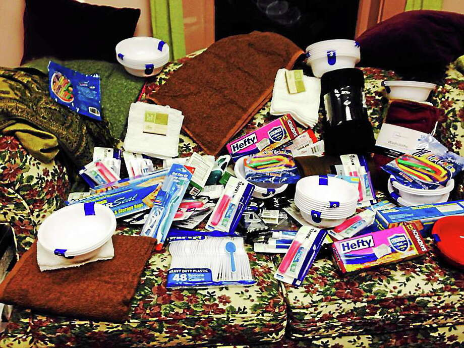 A sample of what Dawn Hill collected at her Water Street studio for the homeless kit drive. Photo: Contributed Photo—Dawn Thebarge Hill