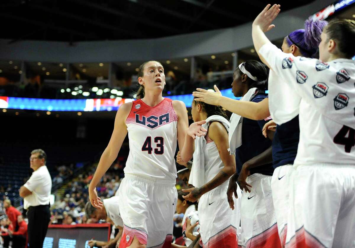 Team USA's Breanna Stewart returns to the bench during the first half of Monday's exhibition against Canada in Bridgeport.