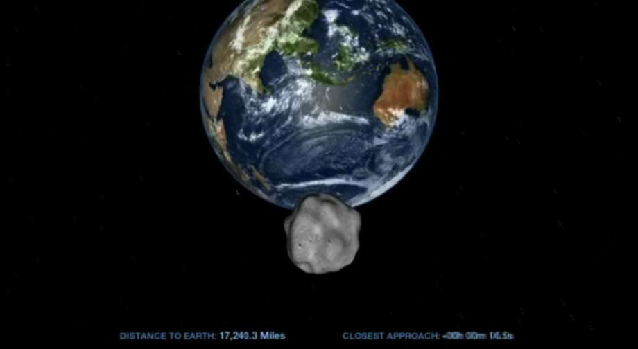 An artist's rendition of the nearest approach of asteroid 2012 DA14 to Earth is shown in this NASA handout still frame from an animated video obtained by Reuters February 8, 2013. The 50-metre in diameter asteroid will pass inside the Earth's geosynchronous orbit, reaching its closest point February 15, 2013. Scientists say there is no danger of it hitting the earth. REUTERS/NASA/Handout Photo: REUTERS / X00653