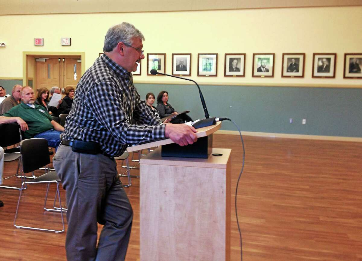 Water Pollution Control Authority Administrator Ray Drew addresses the WPCA Monday in Torrington during a public hearing. Drew suggested increasing the current sewage user rates by $6, which the WPCA approved unanimously.