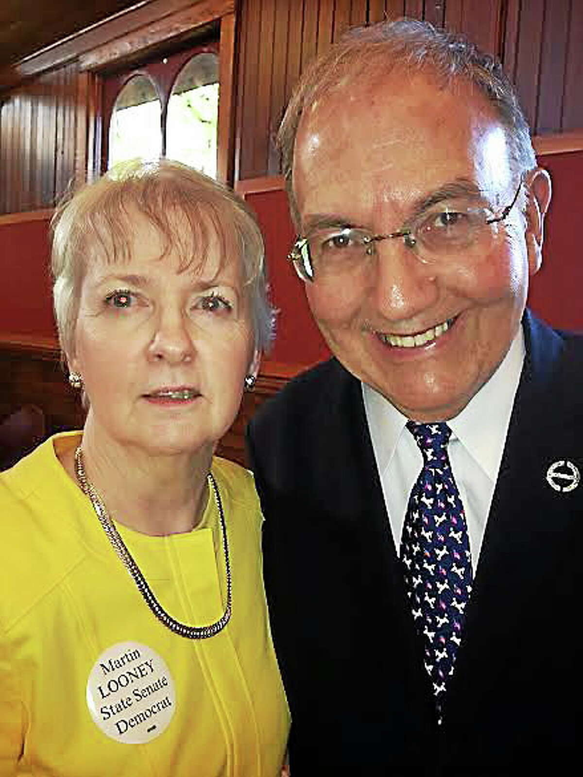 State Sen. Martin Looney with his wife, Ellen. Looney was nominated for 12th senate term Monday.