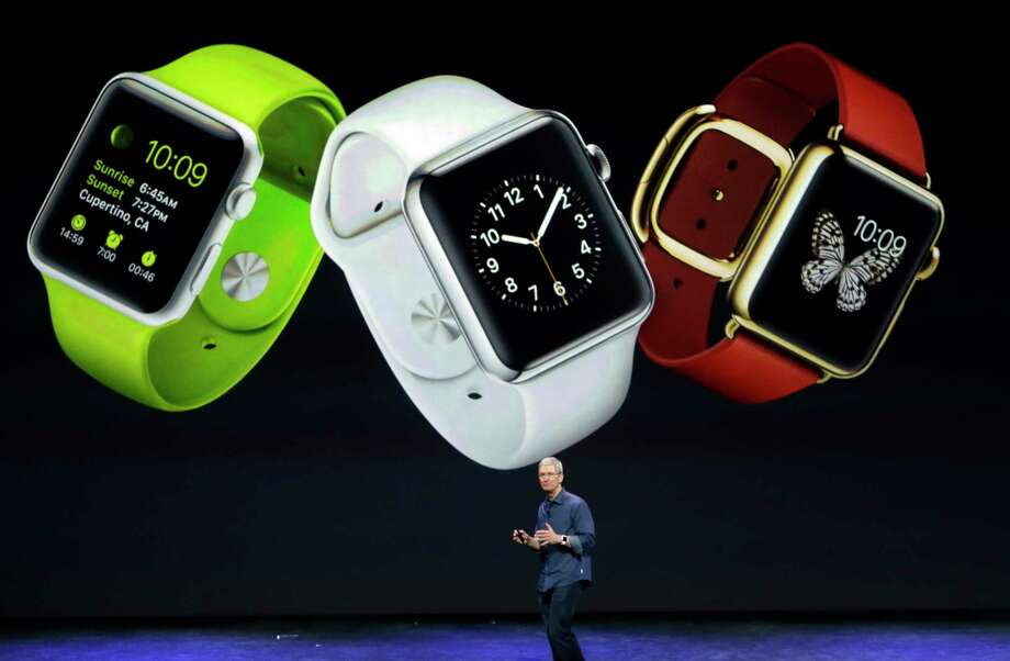 Apple CEO Tim Cook discusses the new Apple Watch in Cupertino, Calif., on Tuesday. Photo: Associated Press  / AP