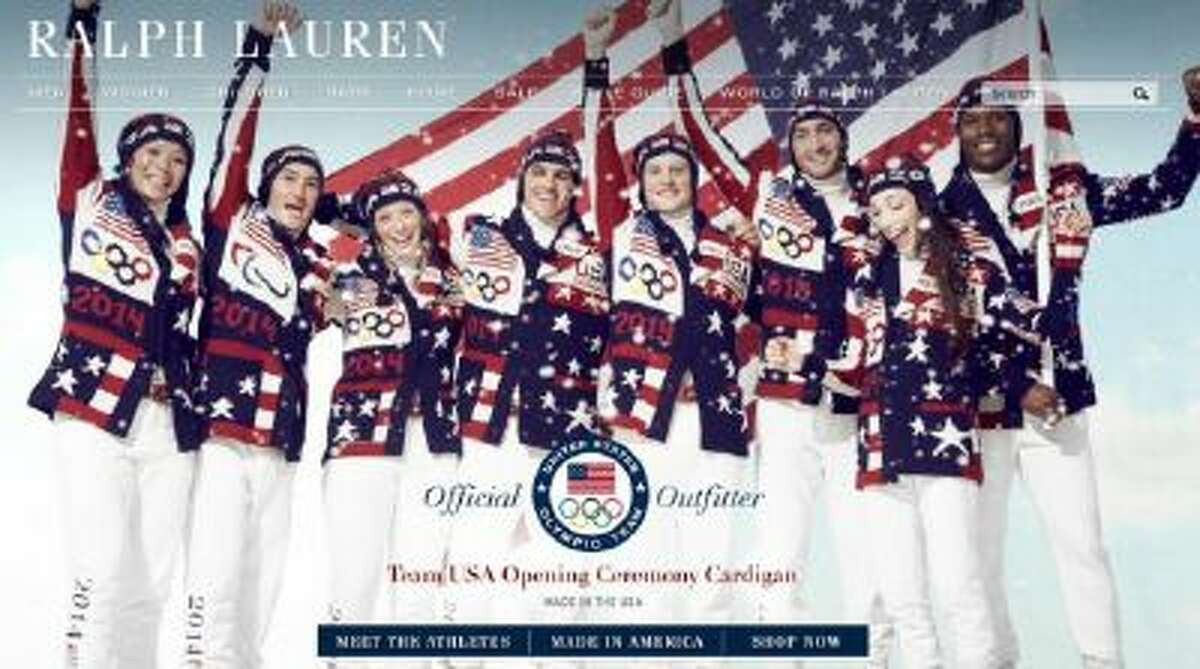 The homepage of Ralph Lauren shows the newly released outfits Team USA will wear during the opening ceremony of the winter Olympics.