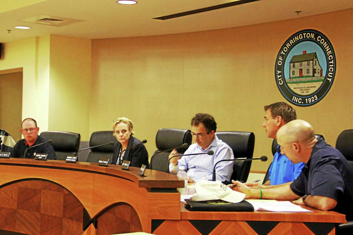 Members of Torrington's City Council during their meeting Monday at City Hall.