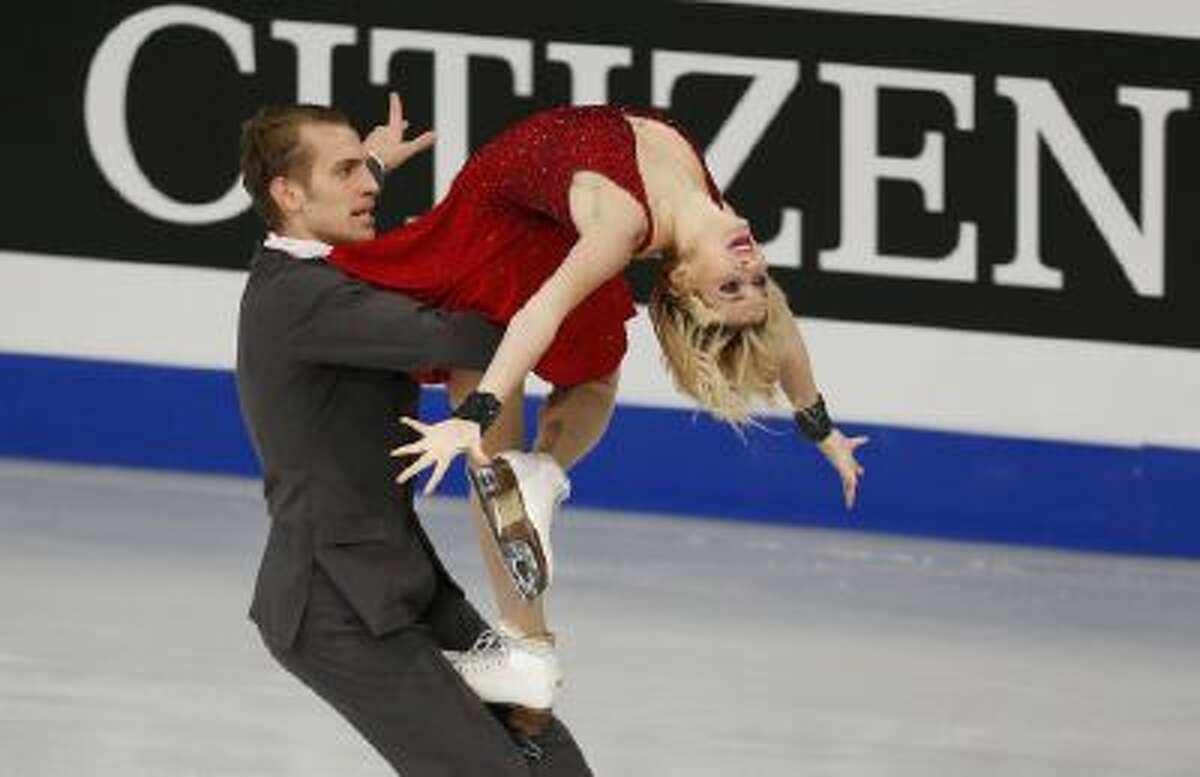 Lithuania's Isabella Tobias and Deividas Stagniunas compete in the Ice Dance Free Dance at the European Figure Skating Championships in Budapest, Hungary, Jan. 16.