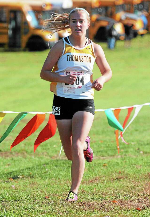 Thomaston's Sabrina Olsen of Thomaston came in second in Class S with a time of 19:28. Photo: Mara Lavitt — New Haven Register   / Mara Lavitt