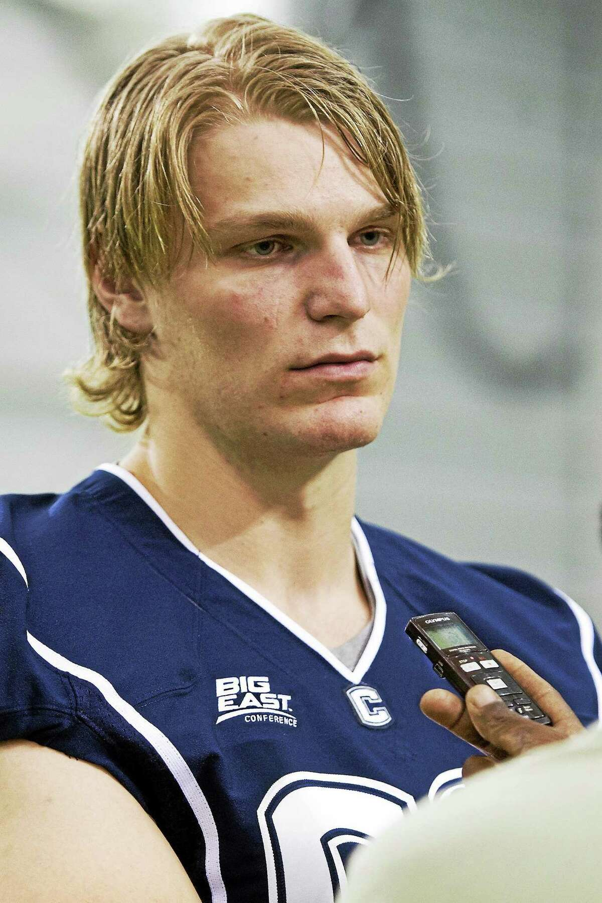 Andreas Knappe, shown here in 2012, saw his first action with the Huskies on Saturday.