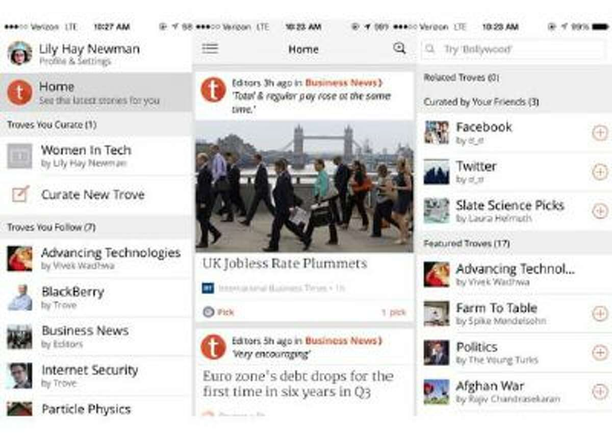 Trove lets you follow news channels, or