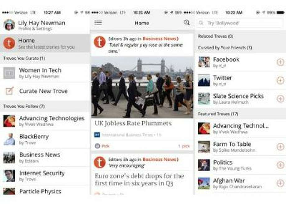 """Trove lets you follow news channels, or """"troves,"""" curated by other people and maintain your own troves on any topic."""