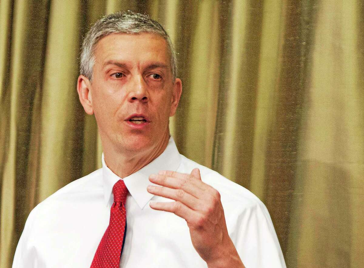 This April 10, 2014 photo shows Education Secretary Arne Duncan speaking in New York.