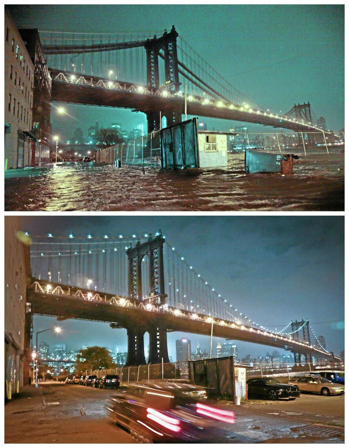 This combination of Monday, Oct. 29, 2012 and Thursday, Oct. 17, 2013 photos shows flooded streets under the Manhattan Bridge in the Dumbo section of Brooklyn, New York in the wake of Superstorm Sandy and the same site nearly a year later. (AP Photo/Bebeto Matthews)