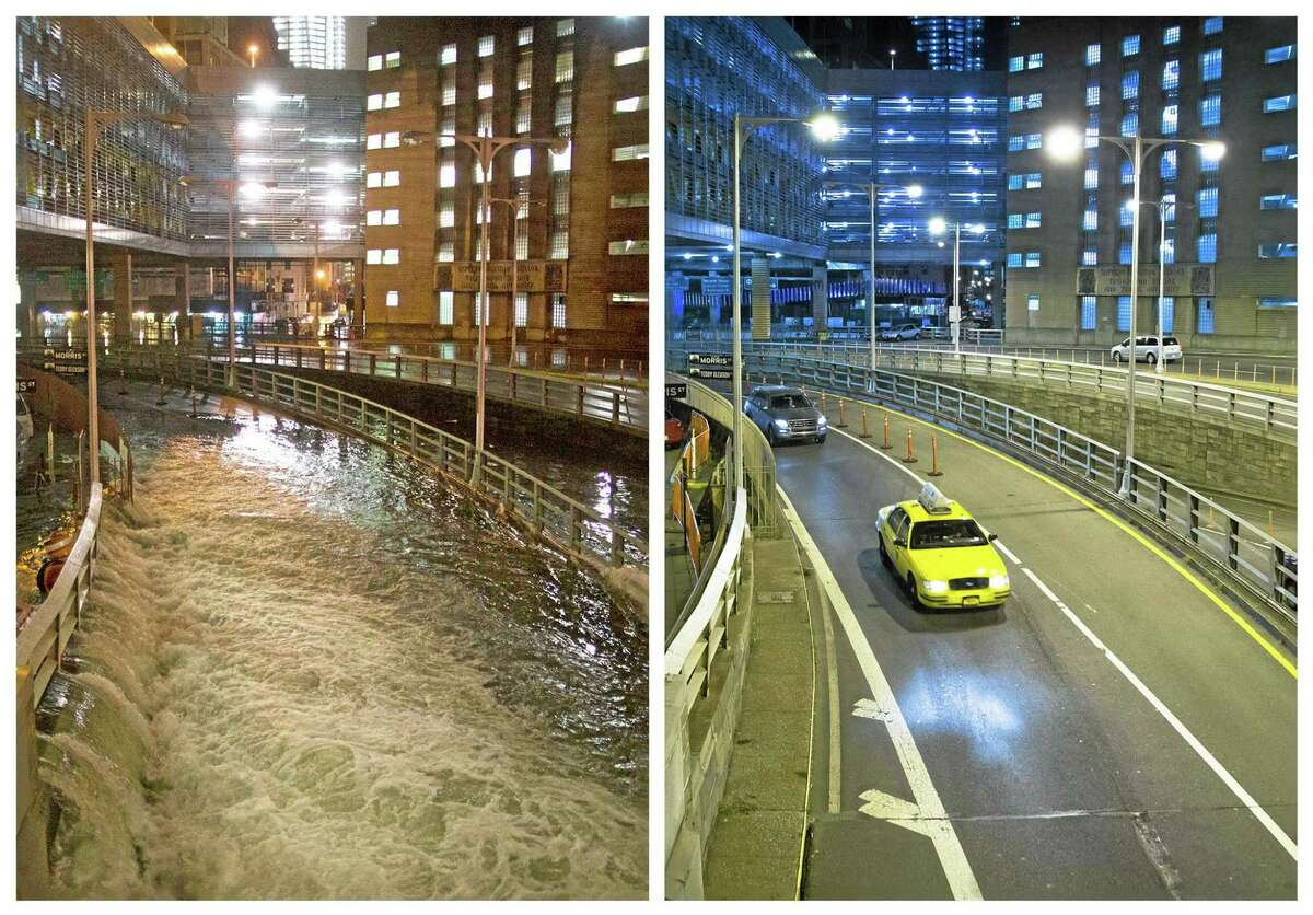 This combination of Oct. 29, 2012 and Oct. 20, 2013 photos shows sea water flooding the entrance to the Brooklyn Battery Tunnel in New York as Superstorm Sandy struck the city, and traffic entering nearly a year later. (AP Photo/John Minchillo)