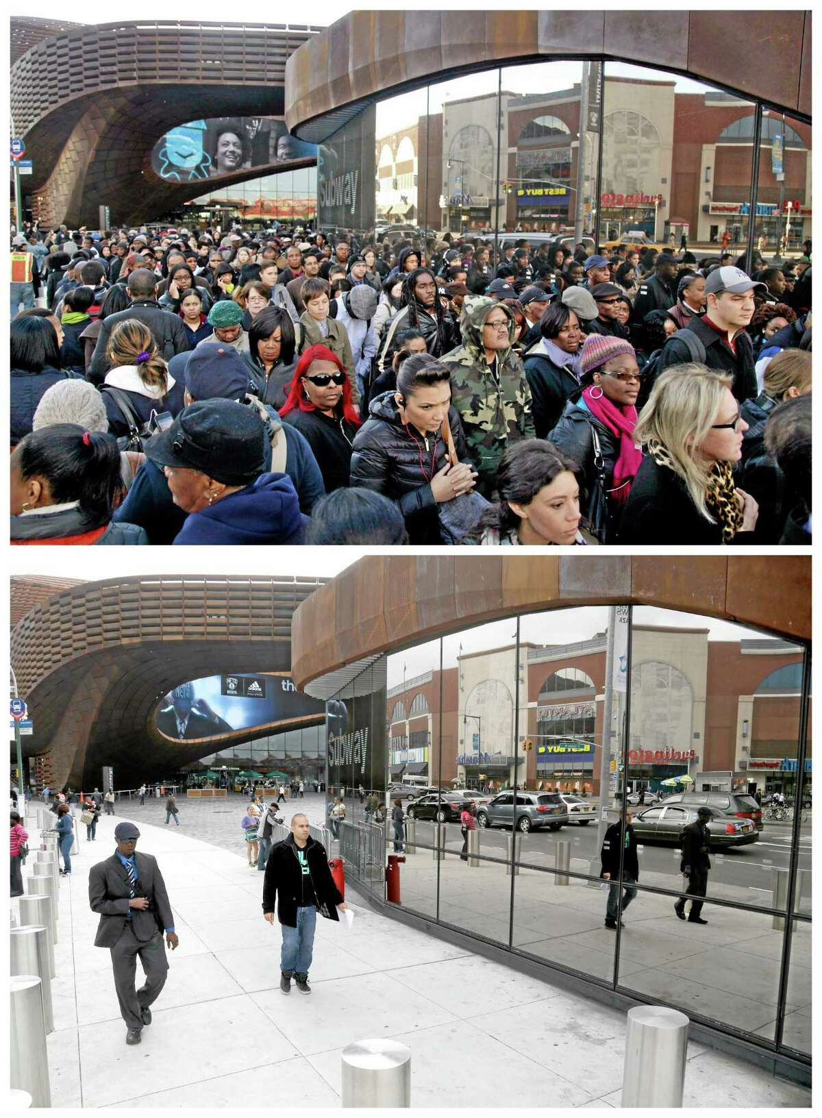 This combination of Thursday, Nov. 1, 2012 and Thursday, Oct. 17, 2013 photos shows commuters in a line which stretched twice around the arena waiting to board buses into Manhattan in front of the Barclays Center in Brooklyn, New York and the site nearly a year later. (AP Photo/Seth Wenig)