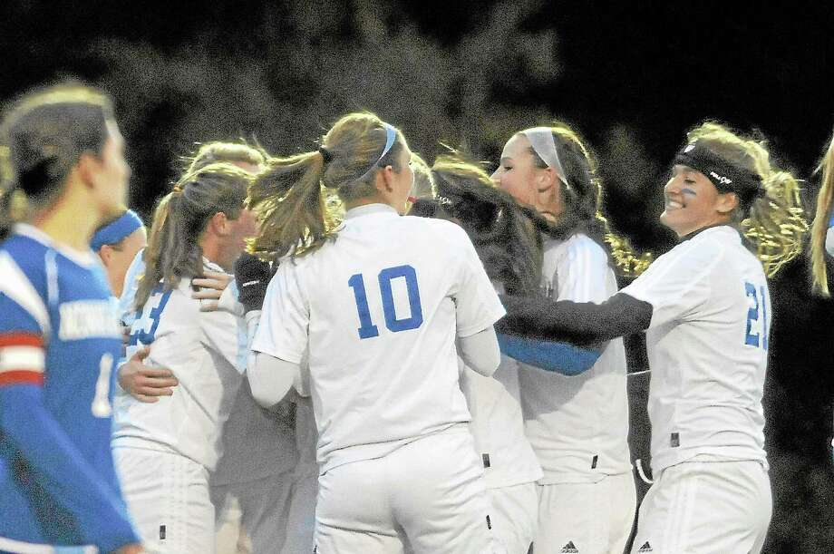 The Lewis Mills girls soccer team has clinched the Berkshire League title with a 15-0 record this season. Photo: Laurie Gaboardi — Register Citizen