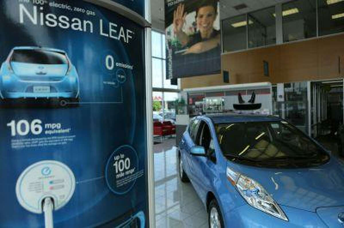 A Nissan Leaf full electric car is seen at Darcars Nissan in Rockville, Md. June 3, 2013. REUTERS/Gary Cameron