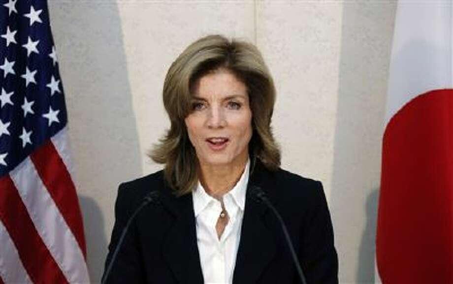 U.S. Ambassador to Japan Caroline Kennedy gives a statement shortly after her arrival in Japan last November. Photo: AP / POOL AP