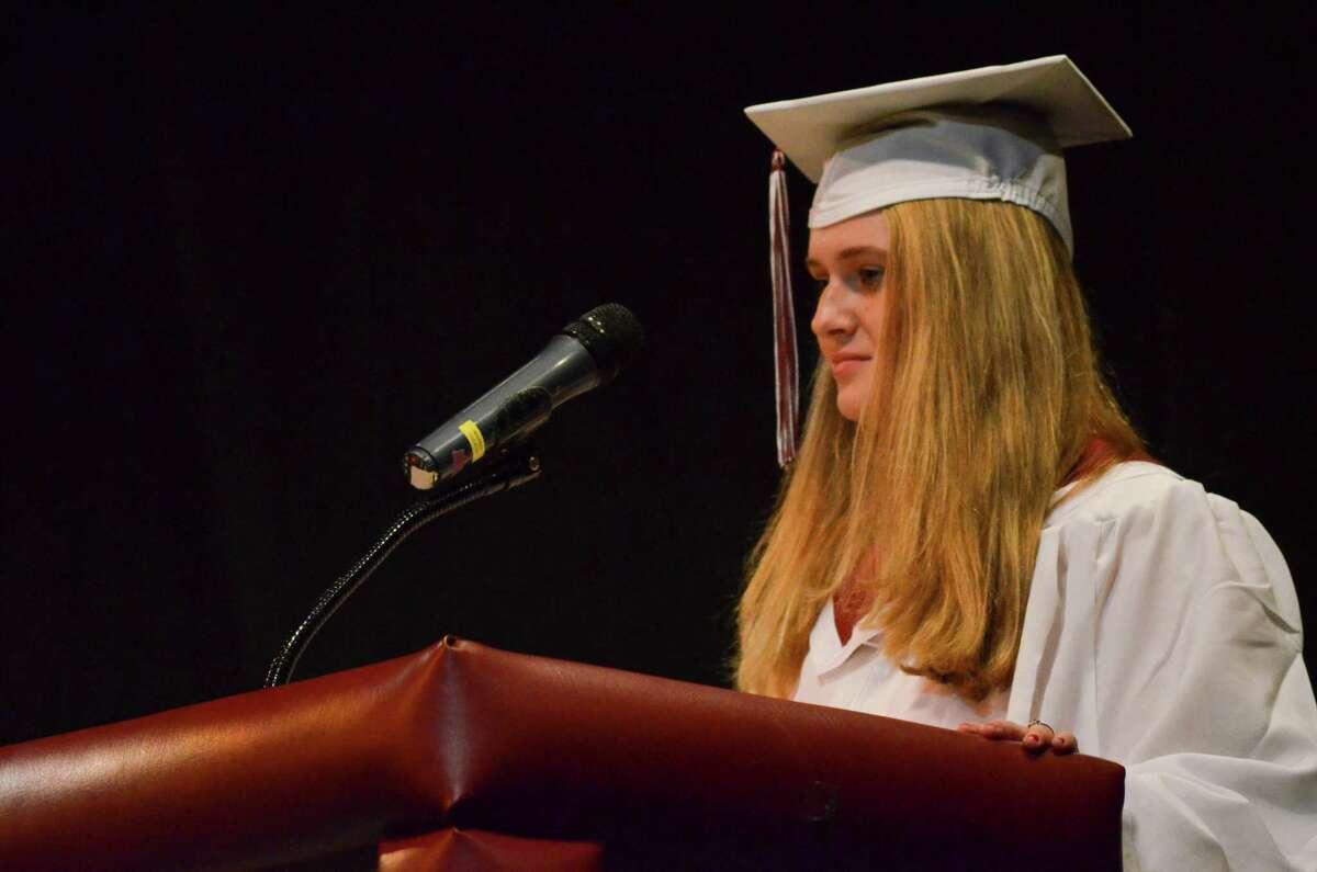 Torrington High School class of 2013 president Rachel Kelly delivers her speech at Sunday's commencement ceremony at the Warner Theatre in Torrington. John Berry - Register Citizen