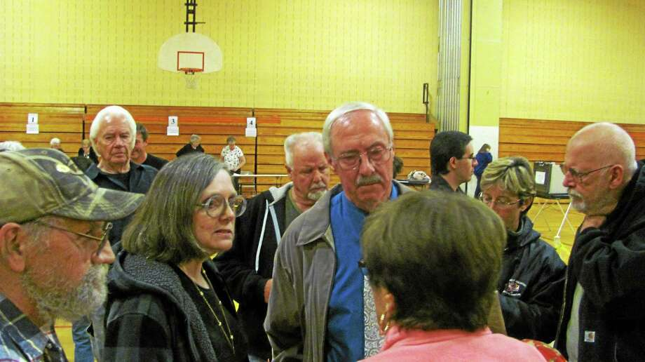 Democrat Steve Sedlak, center, was the top vote-getter in Saturday's special election in Winsted. His running mate, Virginai Charrette, left, lost to Republican Glenn Albanesius. Mayor Marsha Sterling lost. Photo: John Nestor — Special To The Register Citizen