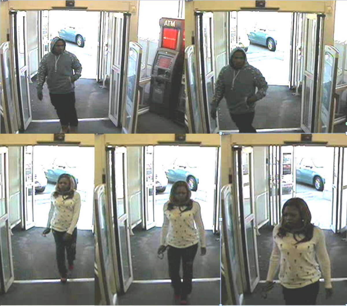 A photo taken from surveillance video shows a man and a woman police believe used fraudulent debit cards at stores in the Torrington area.