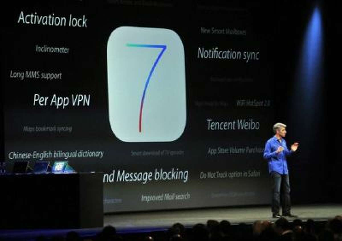 Apple's Senior Vice President of Software Engineering Craig Federighi announcing iOS 7 iOS 7 has not caught on among all iPhone and iPad users.