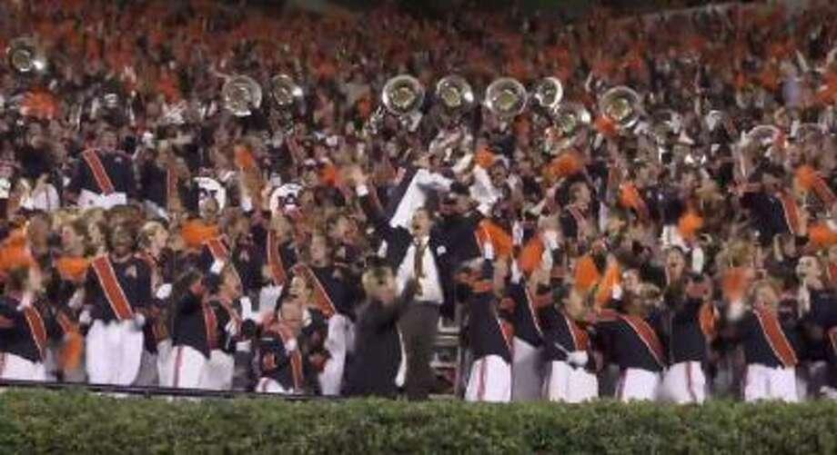 The Auburn band celebrates the team's Iron Bowl win.