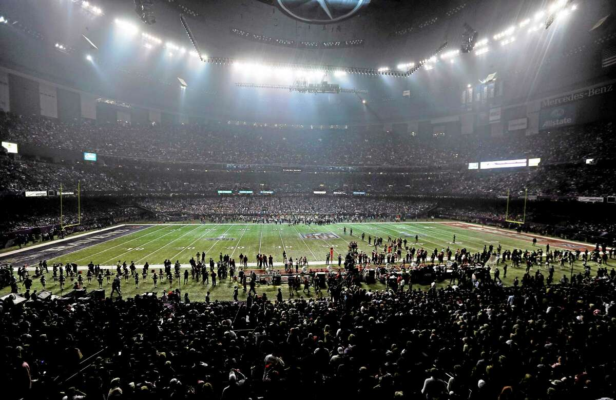 The lights go out in the Superdome during a power outage in the second half of Super Bowl XLVII.