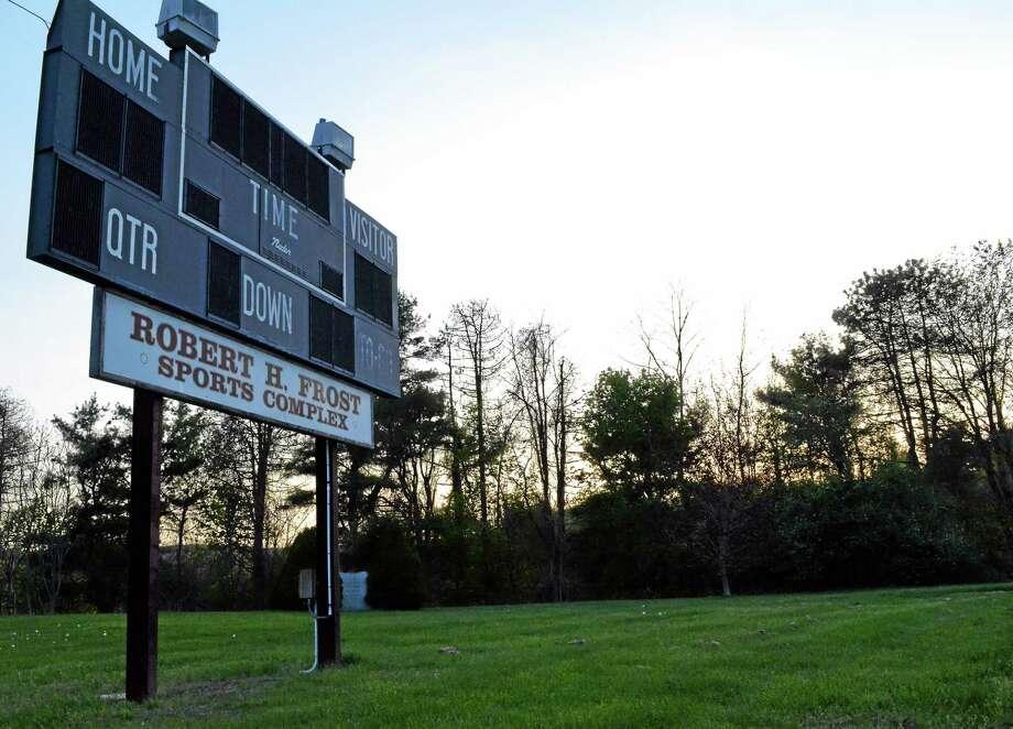 The Torrington High School scoreboard, as seen Tuesday, May 13. Photo: Tom Caprood — Register Citizen