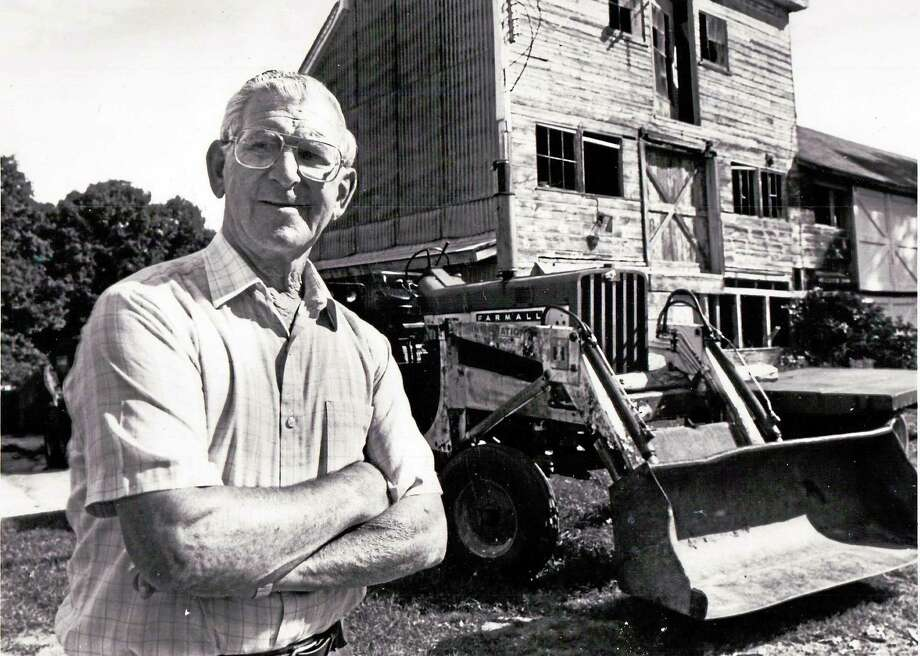 Joe Ruwet at his Torringford Street farm in Torrington in September 1990. Photo: Register Citizen File Photo