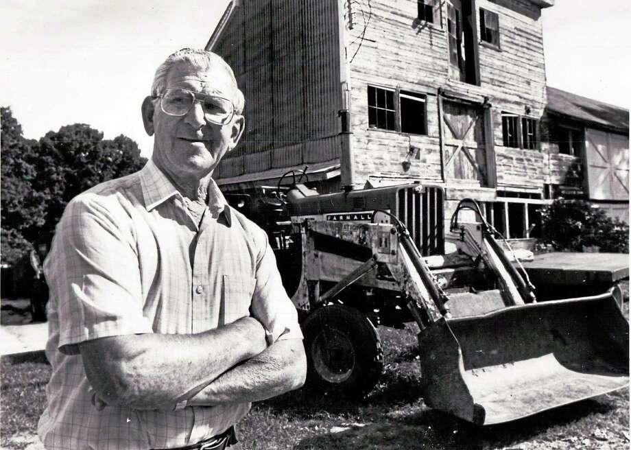Joe Ruwet at his Torringford Street farm in Torrington in September 1990. Photo: Register Citizen File Photo