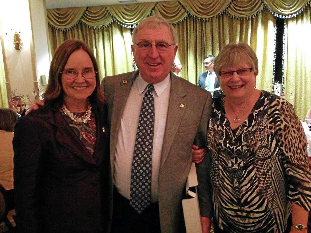 From left: Secretary of State, Denise Merrill, Torrington City Clerk Joe Quartiero and his wife, Chris, on Sept. 11.