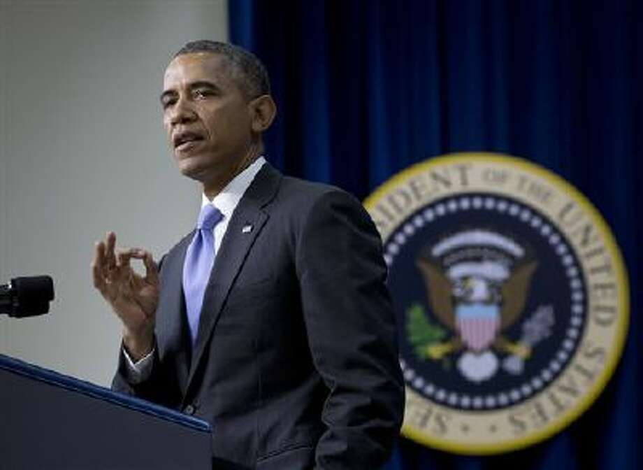 President Barack Obama speaks last Thursday at the White House complex. Photo: ASSOCIATED PRESS / AP2014