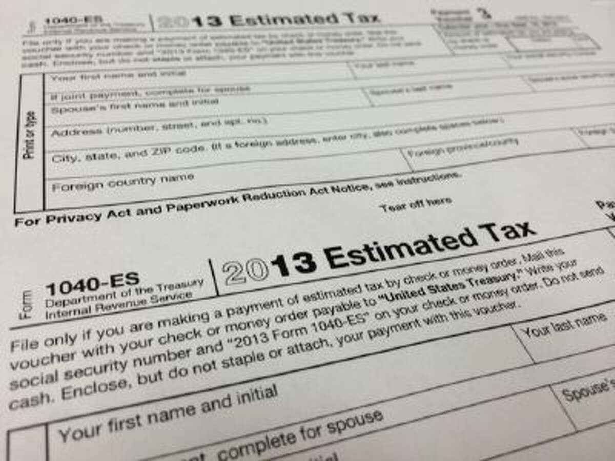 A 2013 1040-ES IRS Estimated Tax form at H & R Block tax preparation office in the Echo Park district of Los Angeles.