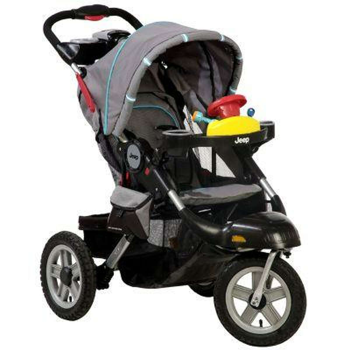 A Jeep Liberty Stroller is seen in an undated photo provided by the Consumer Product Safety Commission. A recall of the stroller by Kolcraft was issued Wednesday, June 19, 2013 due to a projectile hazard; he inner tube of the tire on the stroller can rupture causing the wheel rim to fracture and fly off as a projectile, posing a risk of bodily injury and property damage. (AP Photo/Consumer Product Safety Commission)