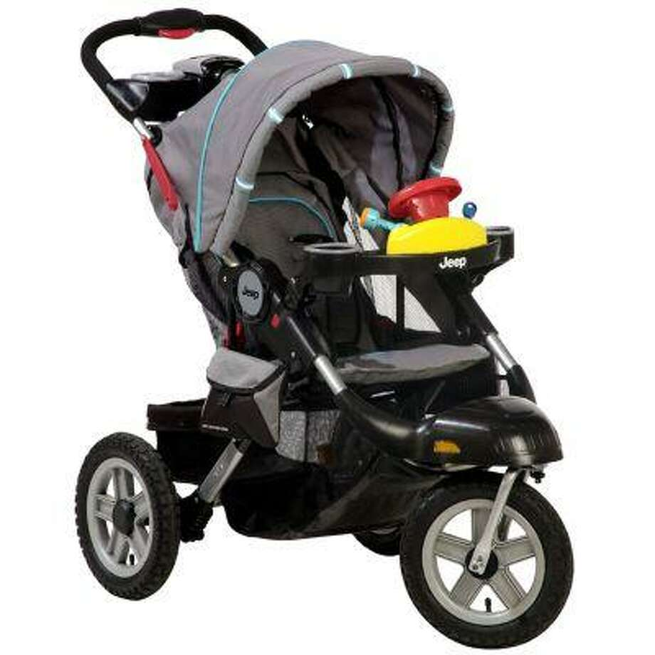 A Jeep Liberty Stroller is seen in an undated photo provided by the Consumer Product Safety Commission. A recall of the stroller by Kolcraft was issued Wednesday, June 19, 2013 due to a projectile hazard; he inner tube of the tire on the stroller can rupture causing the wheel rim to fracture and fly off as a projectile, posing a risk of bodily injury and property damage. (AP Photo/Consumer Product Safety Commission) Photo: AP / Consumer Product Safety Commissi