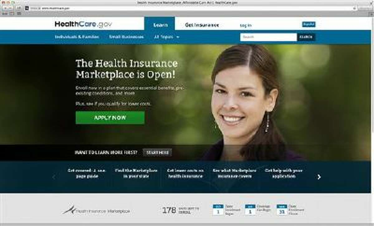 This photo provided by HHS shows the main landing web page for HealthCare.gov. The government's new health insurance marketplaces are drawing lots of rotten tomatoes in early reviews. But people are at least checking the things out. According to an AP-GfK poll, 7 percent of Americans report that somebody in their household has tried to sign up for insurance through the health care exchanges. While that?s a small percentage, it could represent more than 20 million people. (AP Photo/HHS)