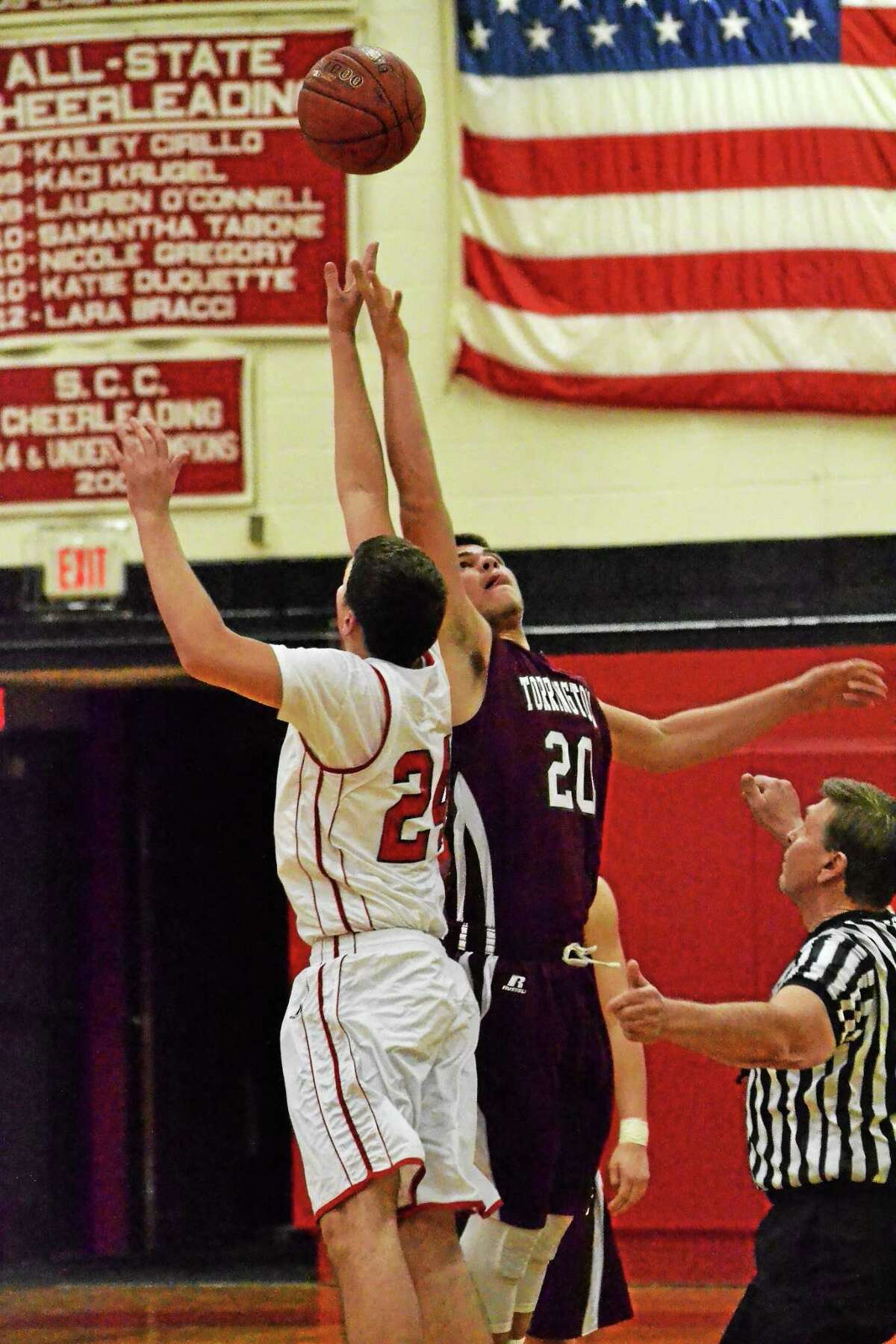 Torrington freshman Dom Sabia has been one of pleasant surprises, under the basket, for head coach Eric Gamari and the Red Raiders.