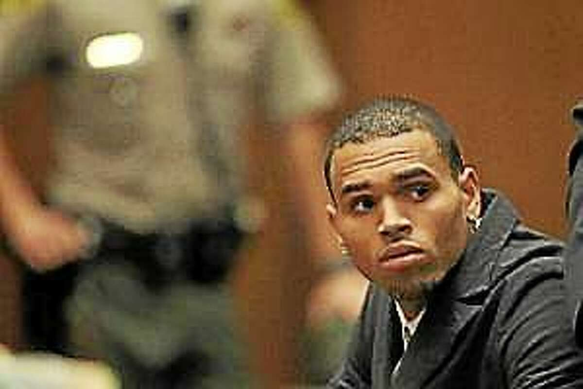 Chris Brown appears in court for a probation progress report hearing on February 6, 2013 in Los Angeles.