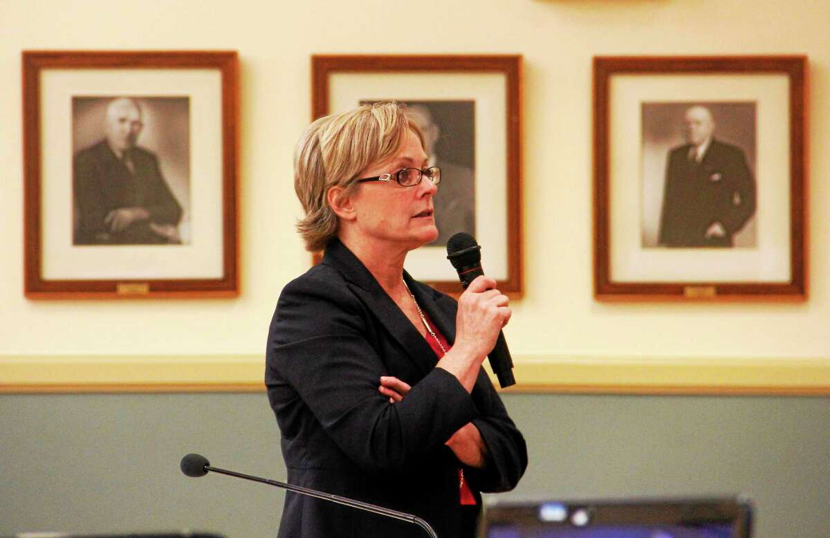 Torrington Mayor Elinor Carbone leads a brief presentation on the city's budget during a special joint City Council and Board of Finance meeting on May 6.