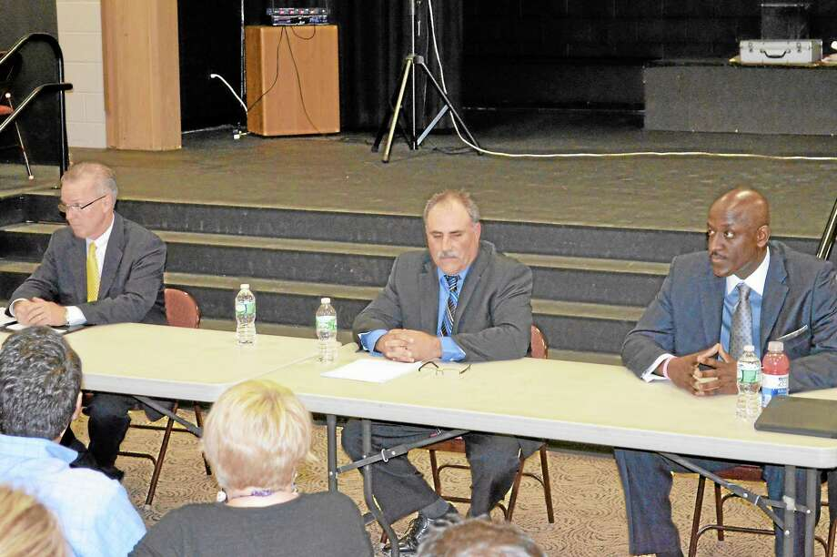 Republican incumbent Dan Jerram, Democrat Troy LaMere and Independent Denis Minor during a debate for First Selectman candidates in New Hartford Thursday. Photo: Kate Hartman—Register Citizen
