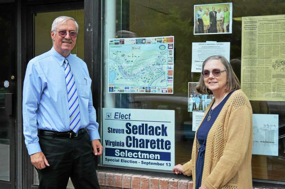 Virginia Charette and Steve Sedlack are Democratic candidates for the Board of Selectmen. Photo: Ryan Flynn — Register Citizen