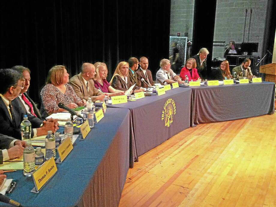 Board of Selectmen candidates from the Democratic, Republican and Independent parties debate in Winsted on Thursday, Oct. 24. Photo: Mercy Quaye—Register Citizen