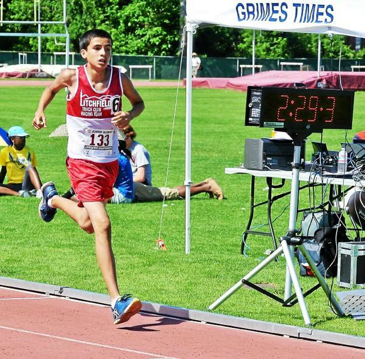 Mateo Tiul of Litchfield placed first in the 13-14 4x8 relay, fourth in the 800m and fifth in the 1500m. Submitted Photo