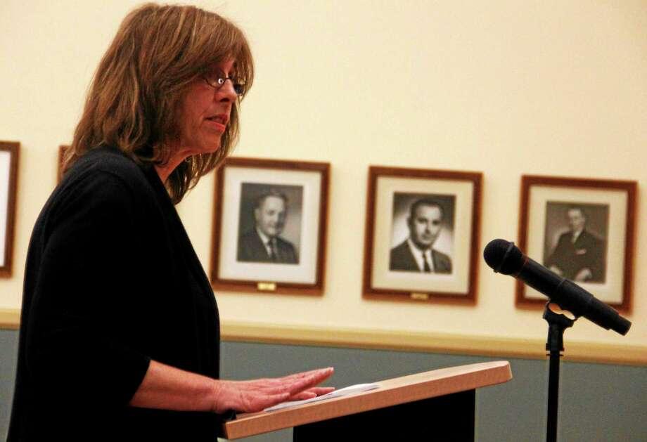 Donna Winn, recreation director, address the Torrington City council after the board voted in favor of a budget that eliminated her position. Photo: Esteban L. Hernandez — Register Citizen
