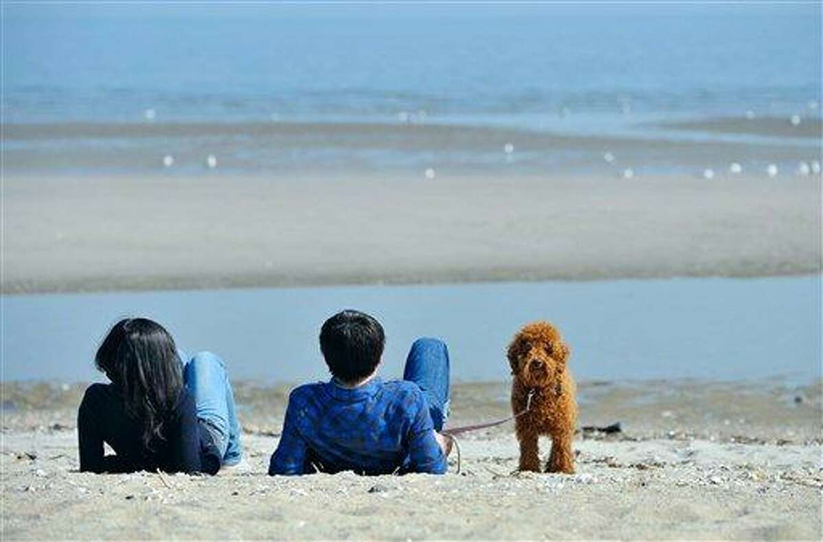 Students Dan Shao, left, and Jianbo Yang of China enjoy the warm weather with their poodle Mr. Bean on the beach in Bridgeport, Conn., Monday, March 19, 2012. (AP Photo/Jessica Hill)
