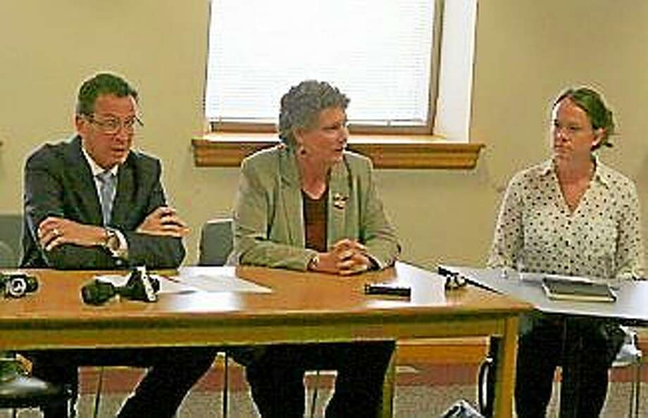 Gov. Dannel Malloy with domestic violence panel. Photo: Photo Courtesy Of CT News Junkie