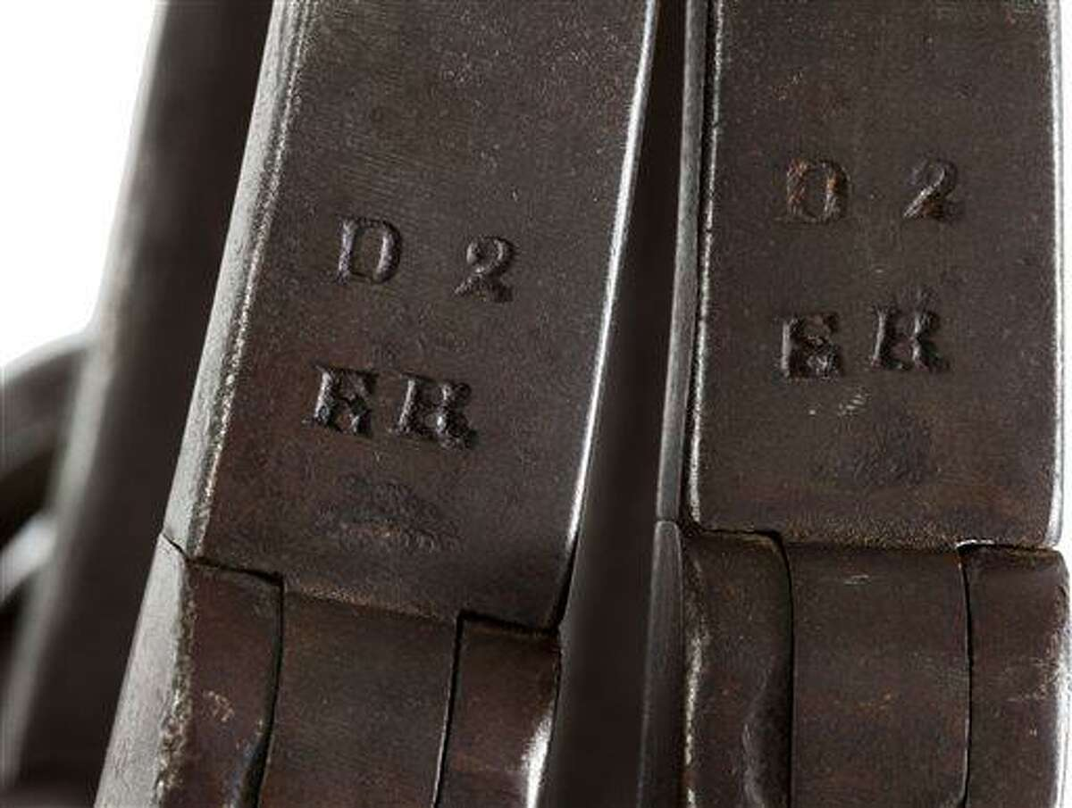 This June 17, 2013 provided by Heritage Auctions, shows a close-up of the leg irons that were placed on John Brown shortly after his arrest at Harper's Ferry, W.Va. The irons are stamped