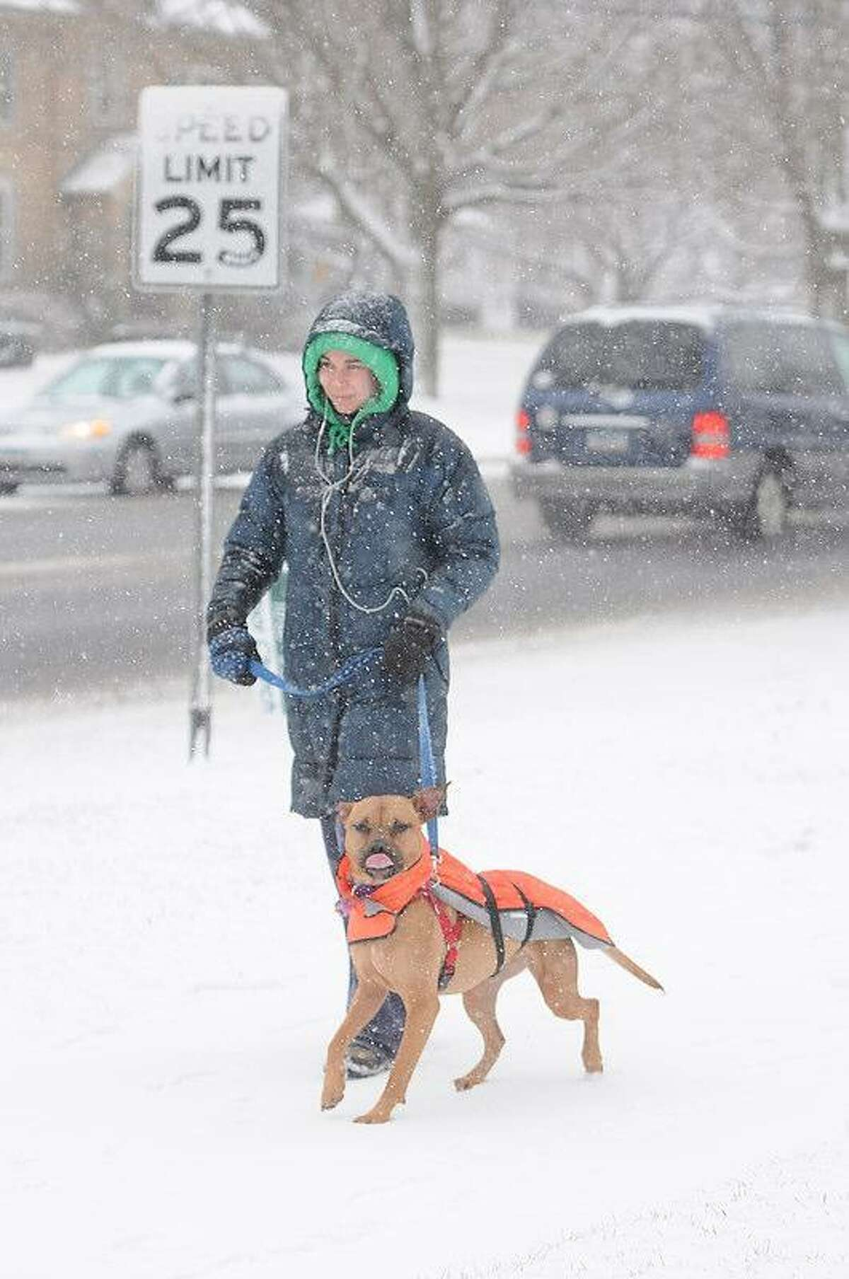 Lauren Lavoie of Branford walks her dog Tillie, boxer-pitbull mix, on Main Street in Branford, Connecticut, Friday morning February 8, 2013. Blizzard warnings have been issued for all of Connecticut, according to the National Weather Service. Connecticut residents should brace for a possible blizzard Friday and into Saturday that could dump up to two feet of snow, along with high winds and the potential for coastal flooding. Photo by Peter Hvizdak / New Haven Register