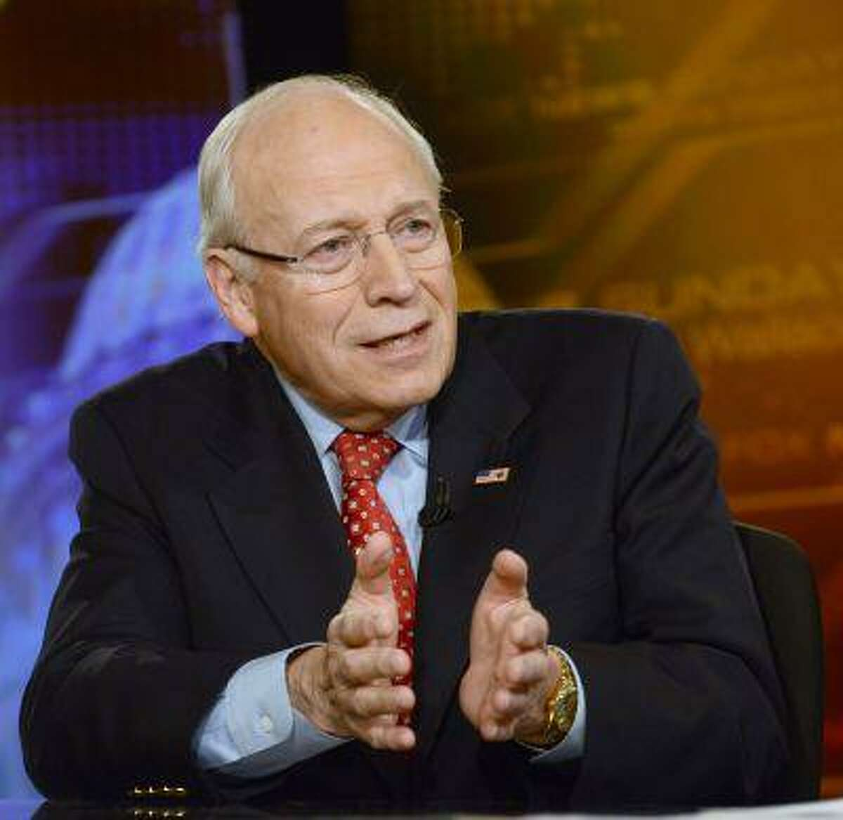 RETRANSMITTING TO ADD NAME OF PHOTOGRAPHER - In this photo released by Fox News Sunday, June 16, 2013, former Vice President Dick Cheney speaks on Fox News Sunday in Washington. Cheney says his health is