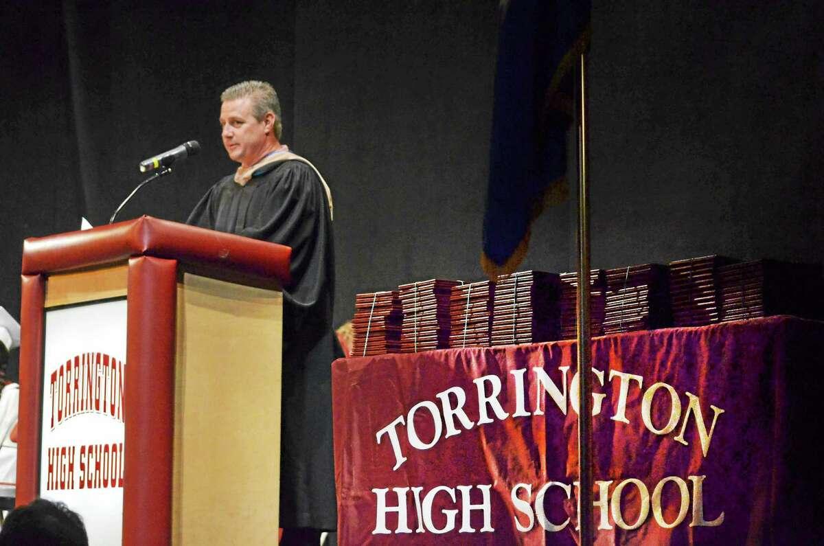 Torrington Board of Education Chairman Ken Traub speaks during the 2013 Torrington High School commencement ceremony.