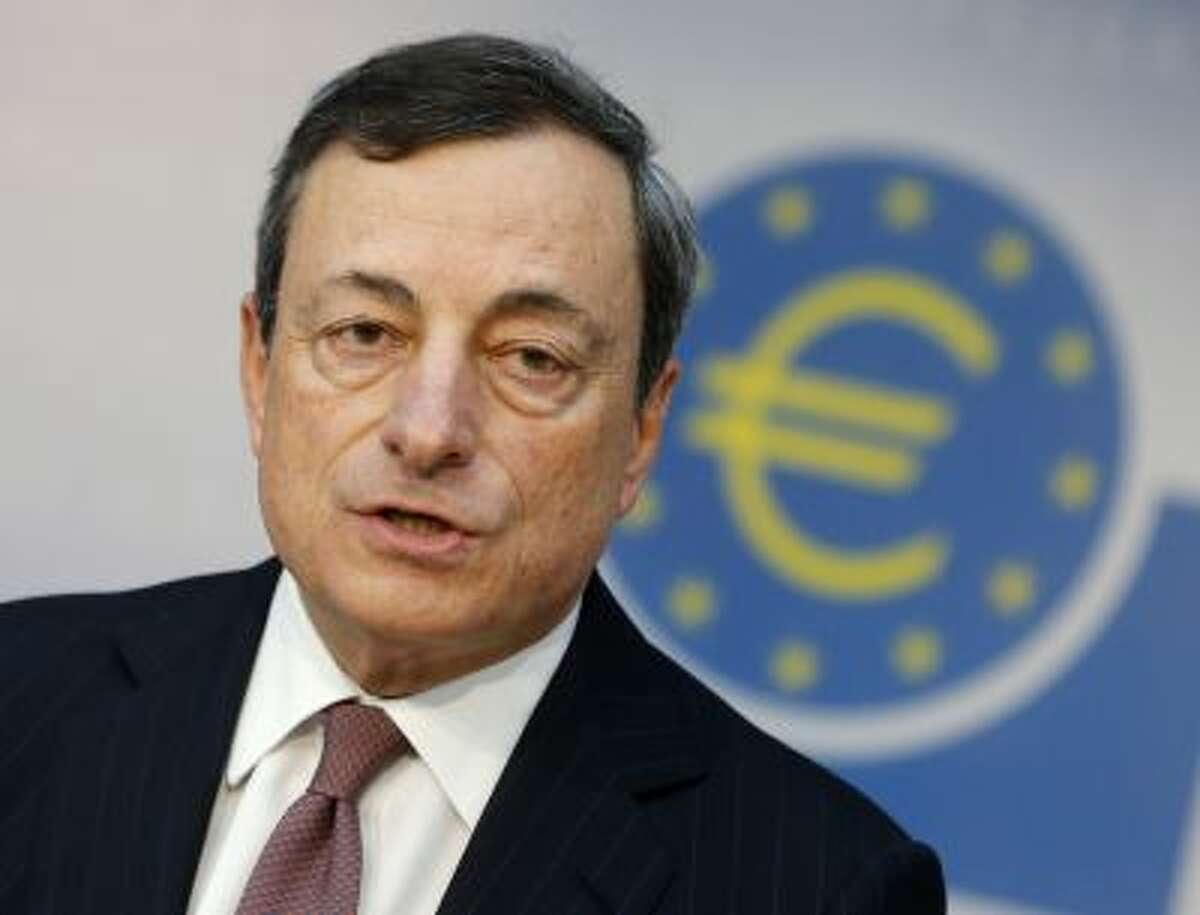 ECB President Mario Draghi, speaks during a news conference in Frankfurt, Germany.